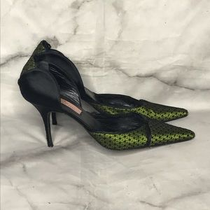 💥 Alexandra Neel satin lace pumps 37 black green
